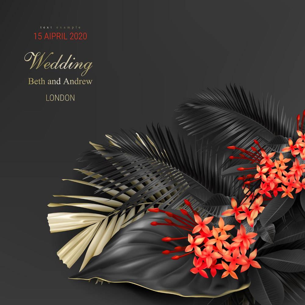 热带黑色和金色叶子的婚礼邀请卡模板_4667030