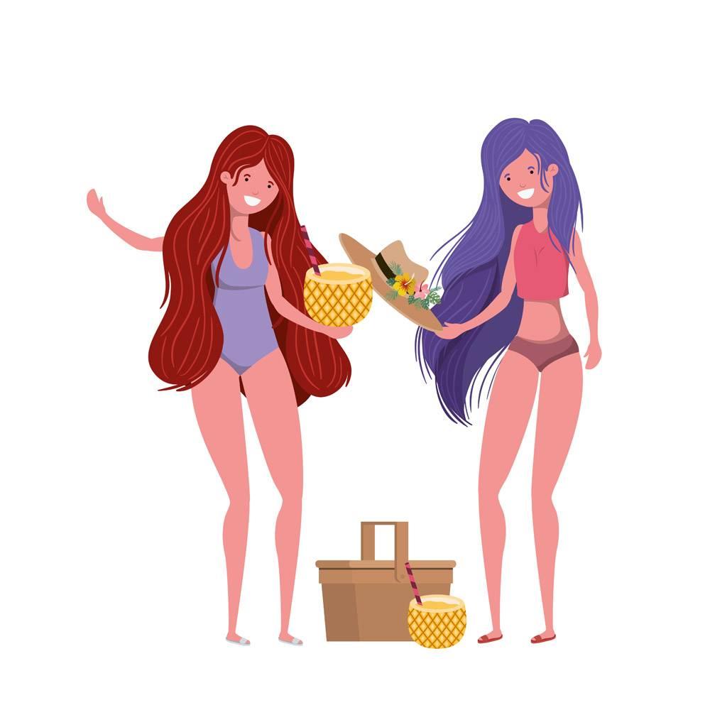 穿泳装和菠萝鸡尾酒的女人_4806439