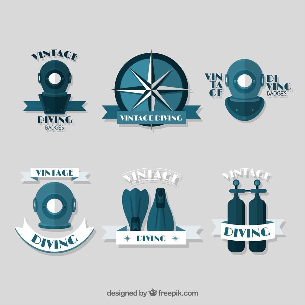 平面设计的复古潜水运动徽章_891051
