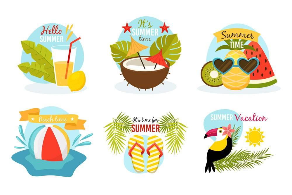 平面设计的夏季徽章_8258203