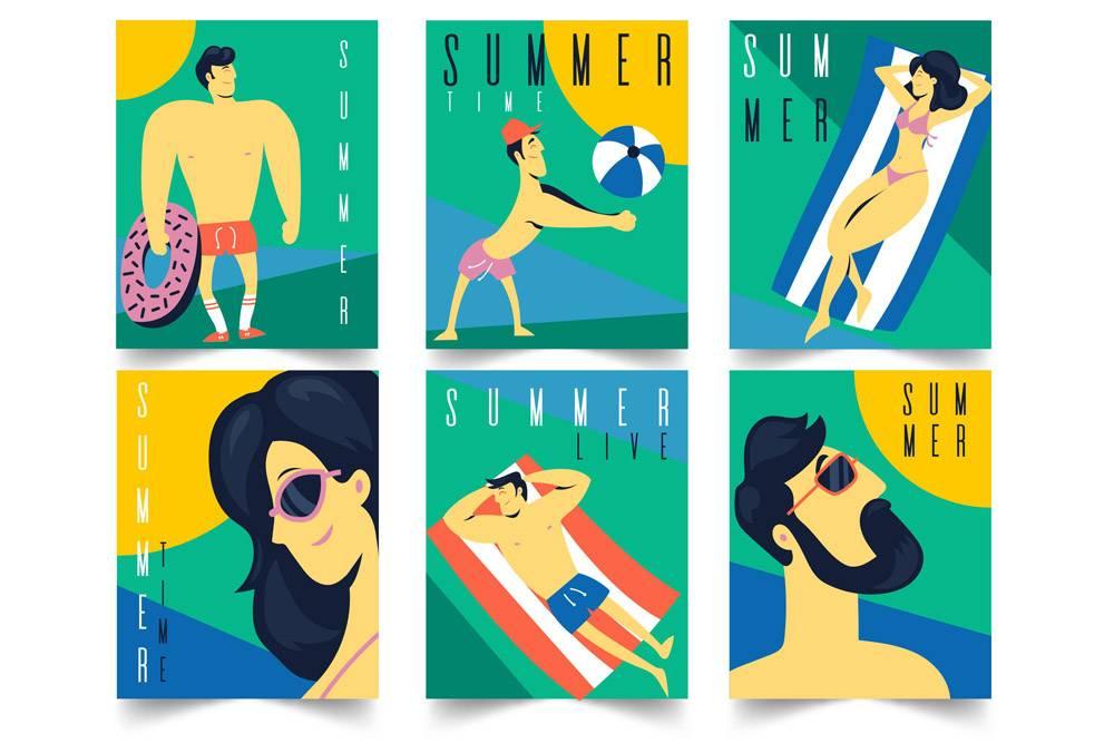 平面设计的夏季贺卡_8141468