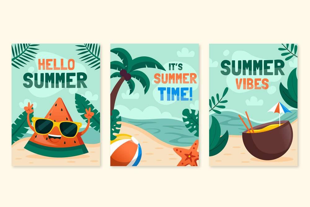 平面设计的夏季贺卡_8248243