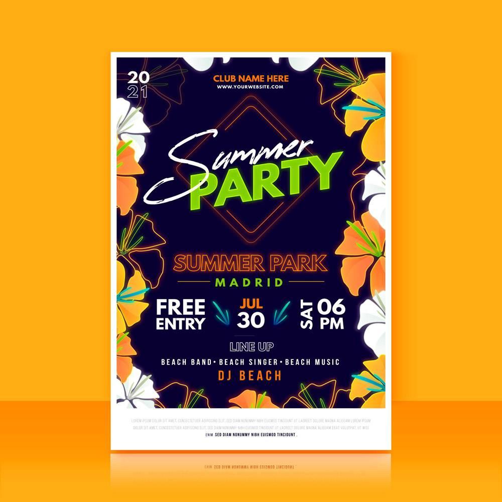 平面设计的夏日派对海报_8247542