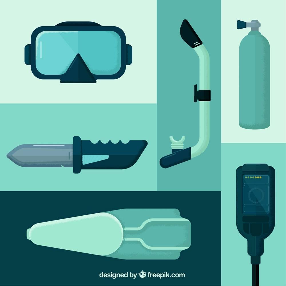 平面设计的潜水设备和配件_890182