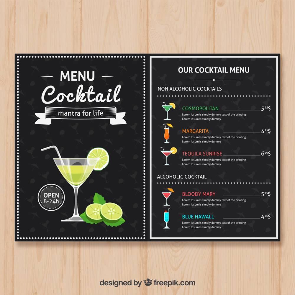 平面设计的鸡尾酒菜单模板_1707797