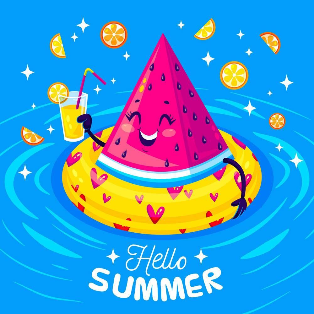 平面设计趣味夏日插图_8248188