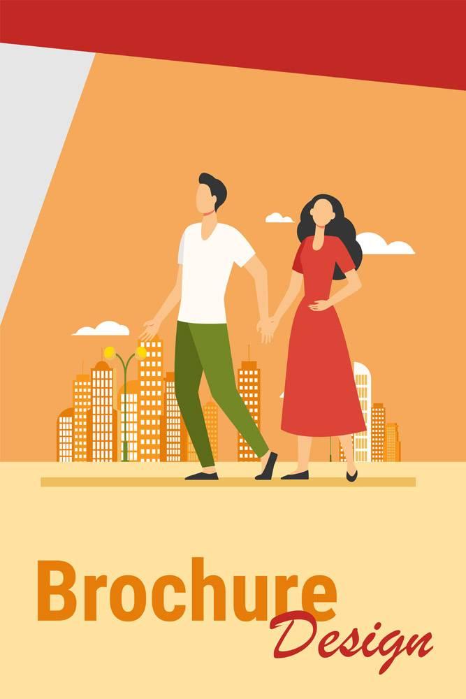年轻夫妇在城市里散步男女手牵手平矢量插_11543278