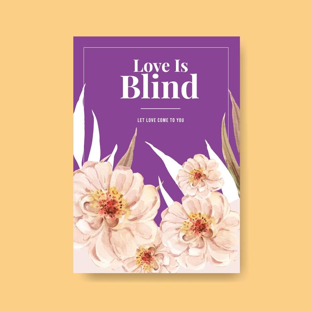 广告营销水彩插图爱心绽放概念设计海报模板_12928521
