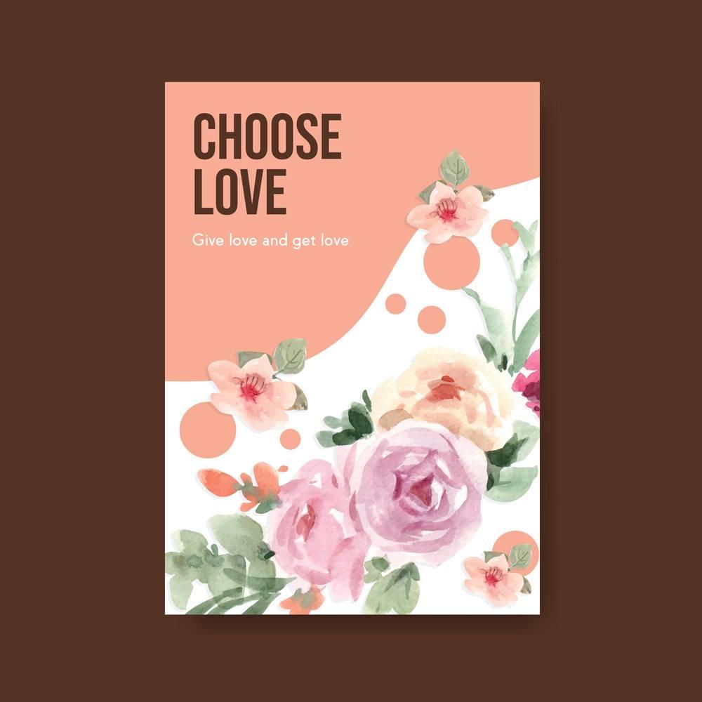 广告营销水彩插图爱心绽放概念设计海报模板_12928526
