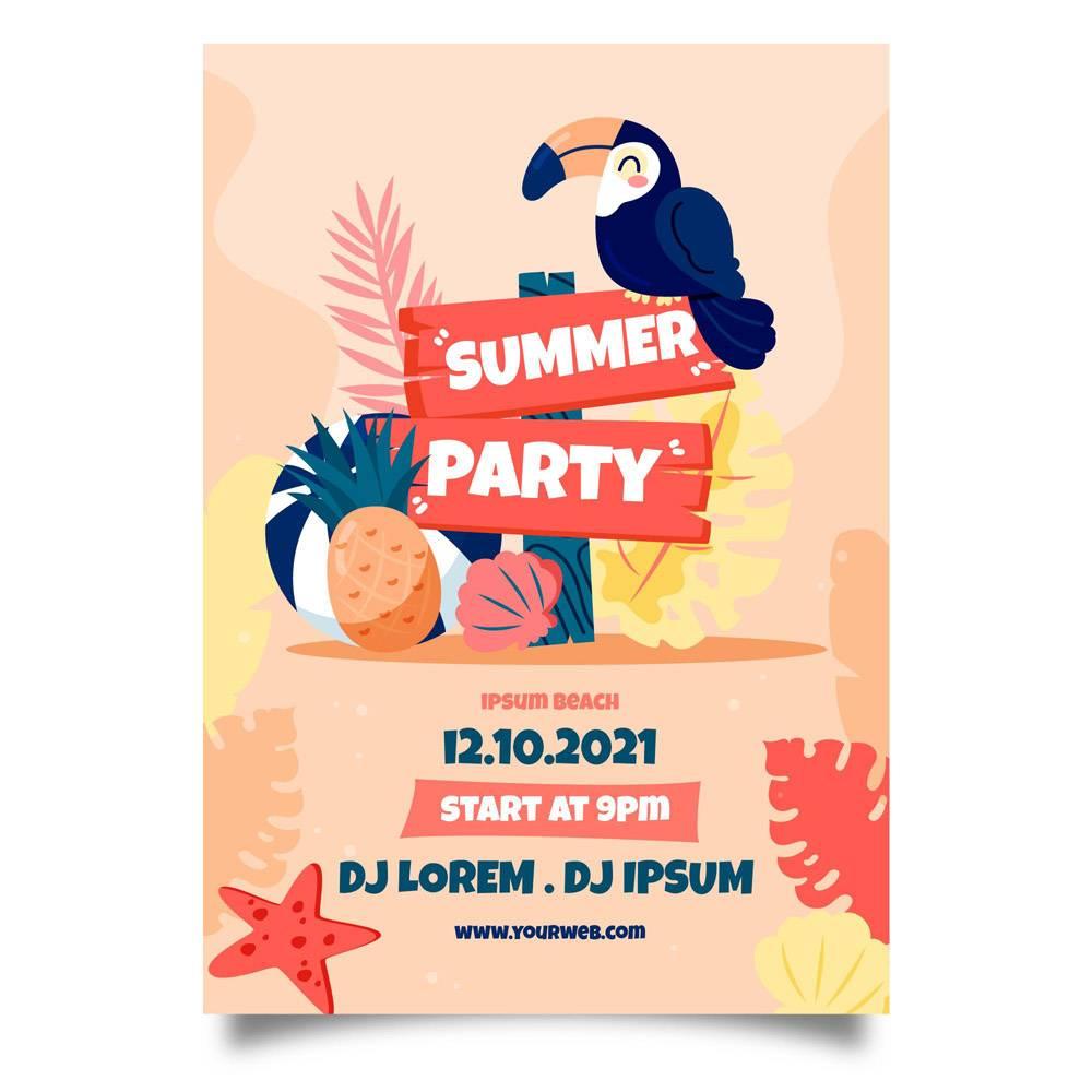 异国情调的小鸟手绘夏日派对海报_8304218