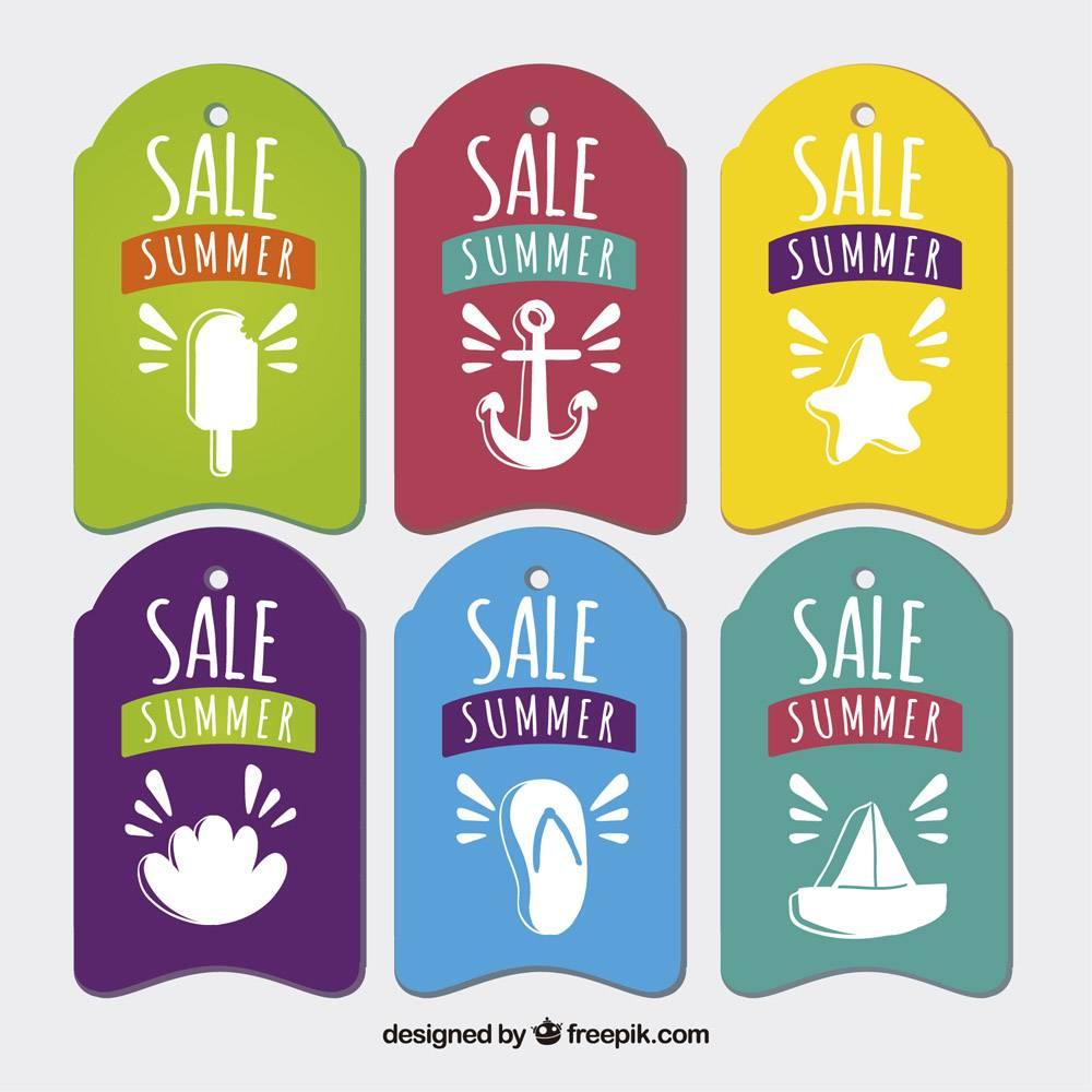彩色夏季销售标签配上漂亮的图画_896578