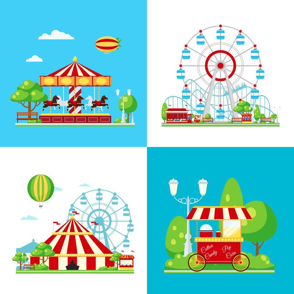 彩色游乐园构图_4328725