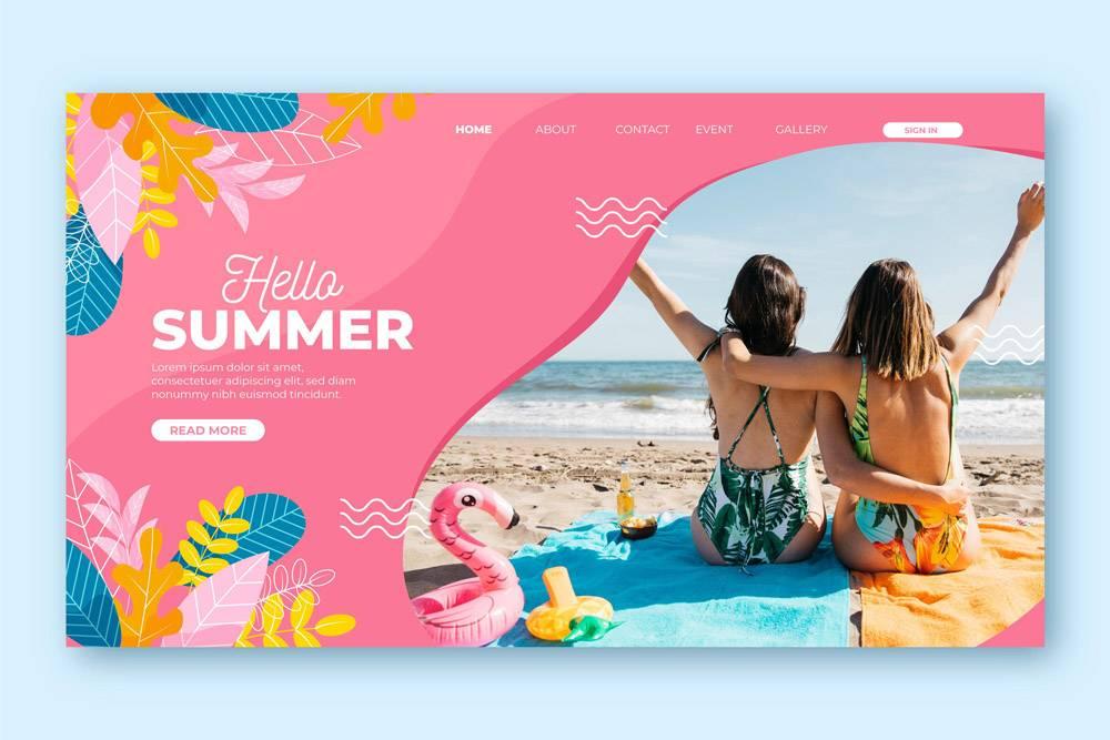 您好夏季登录页面概念_7967509