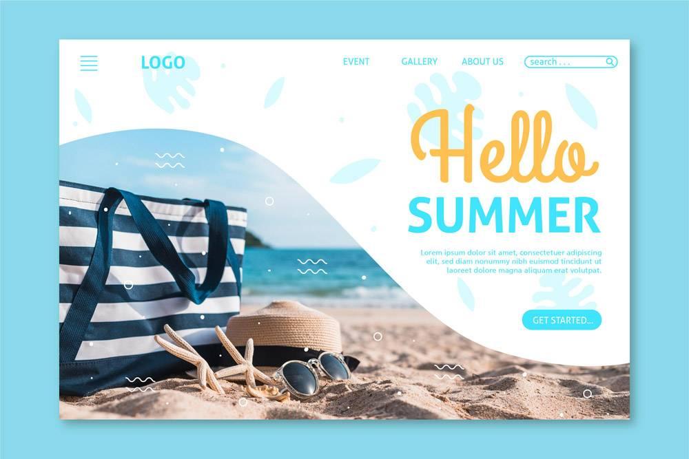 您好夏季登录页面概念_8090139
