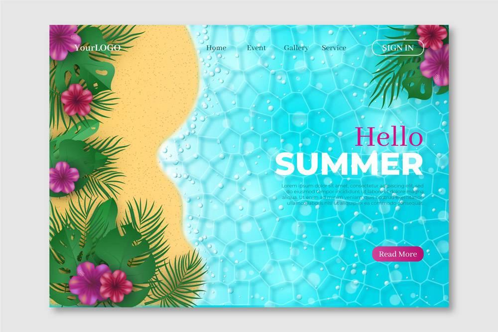 您好夏季登录页面概念_8141256