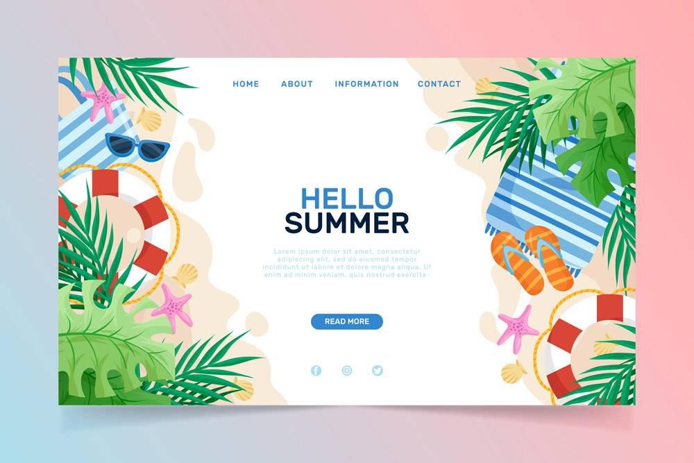 您好夏季登录页面模板_7969188