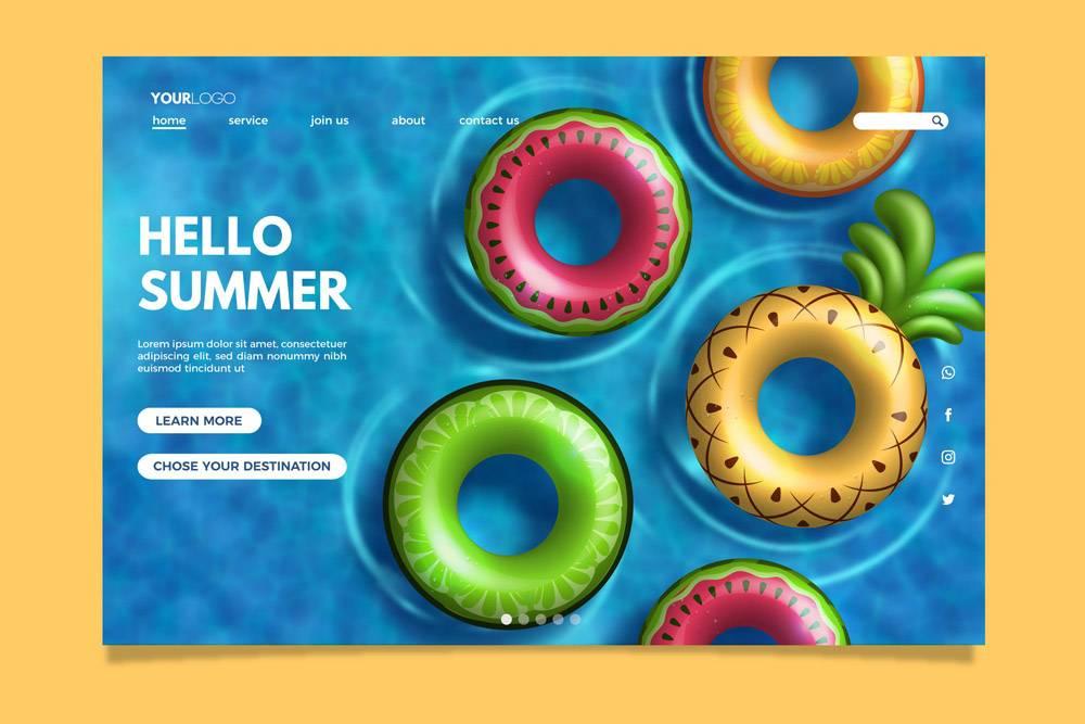 您好夏季登录页面模板_7969196