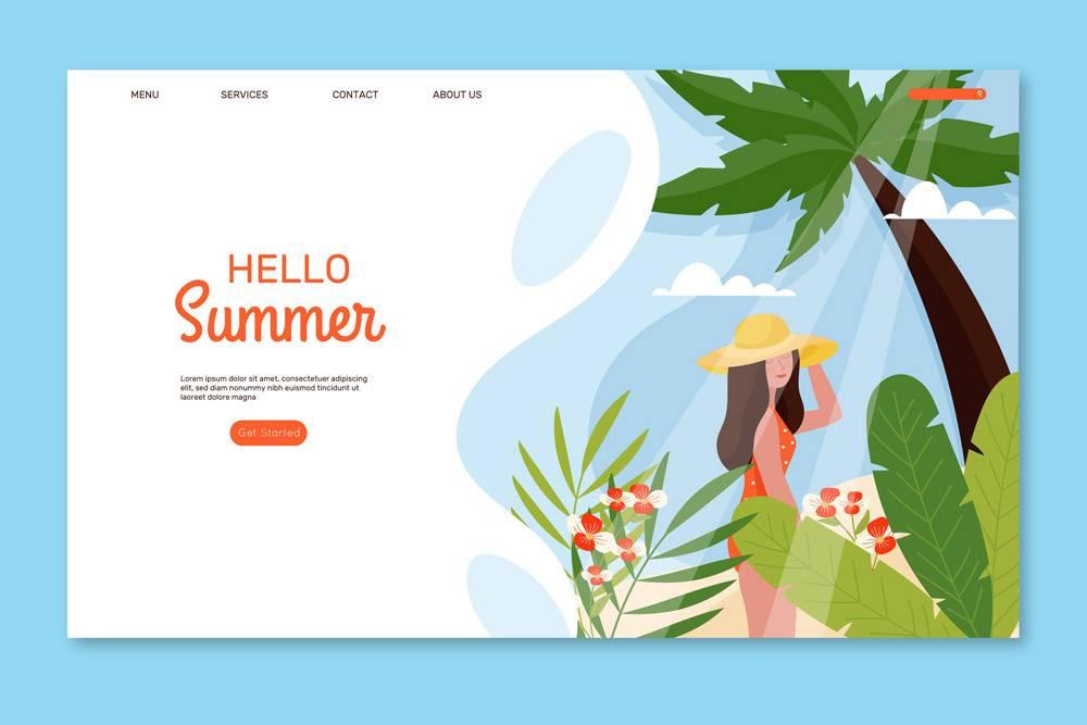 您好夏日插图登录页_7973918