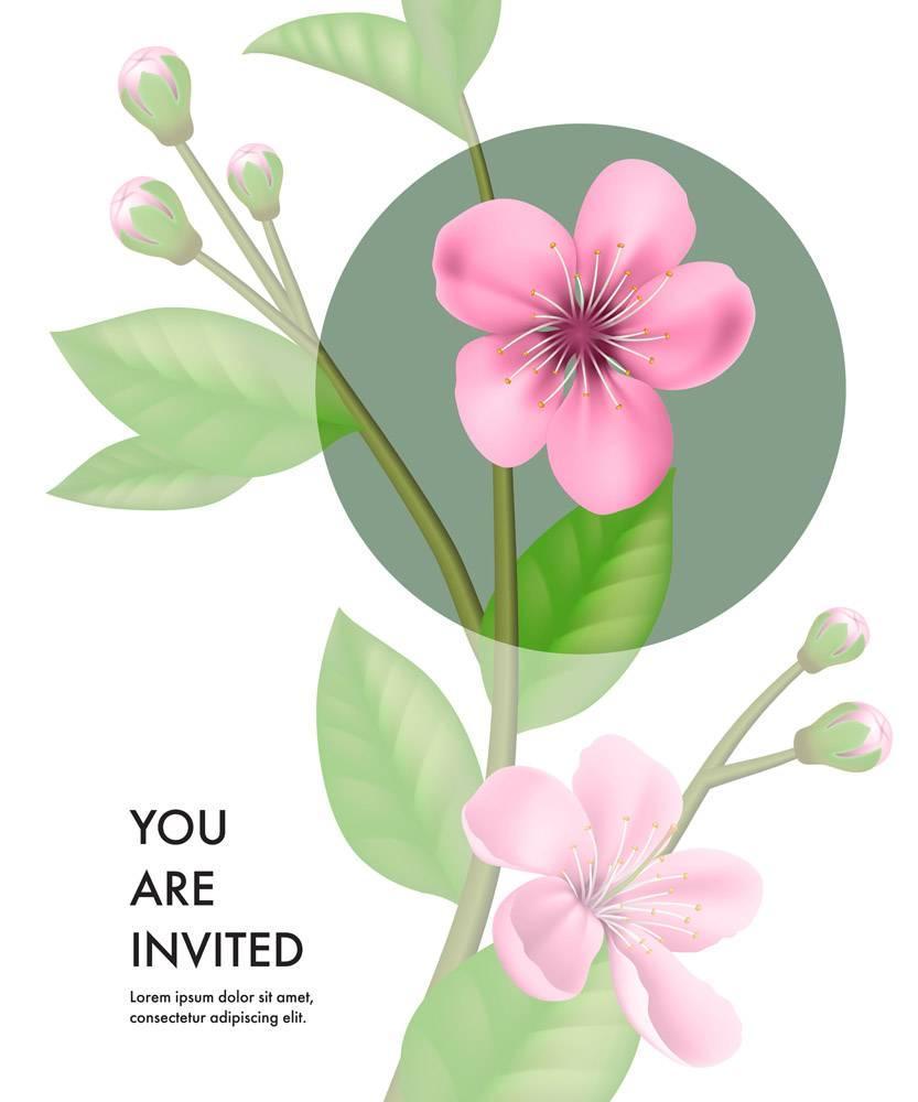 您将收到一张印有透明樱花和绿色圆圈的邀请_2768247