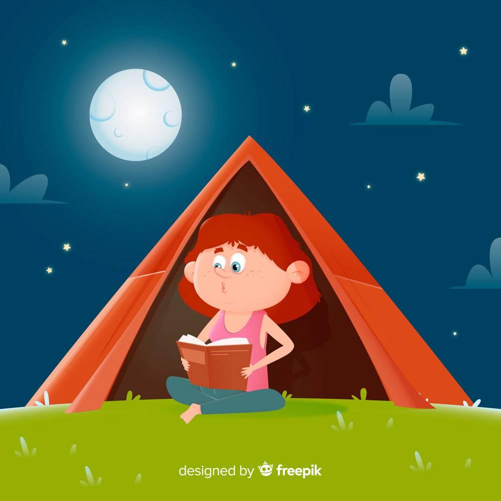 扁平设计的女孩在帐篷里看书_5351917
