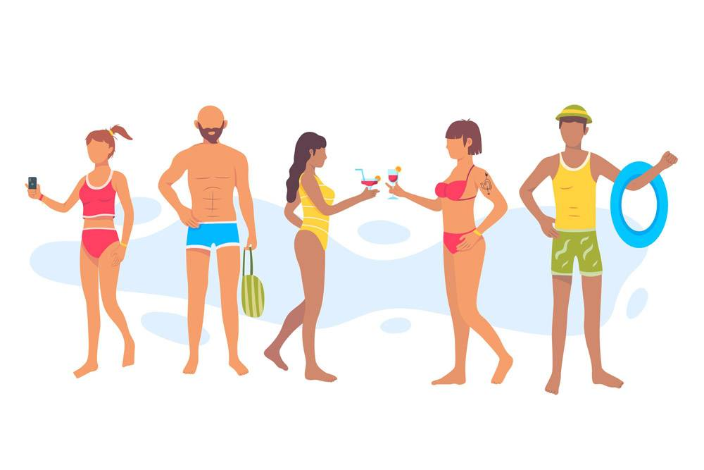 扁平设计的沙滩人套装_9905141