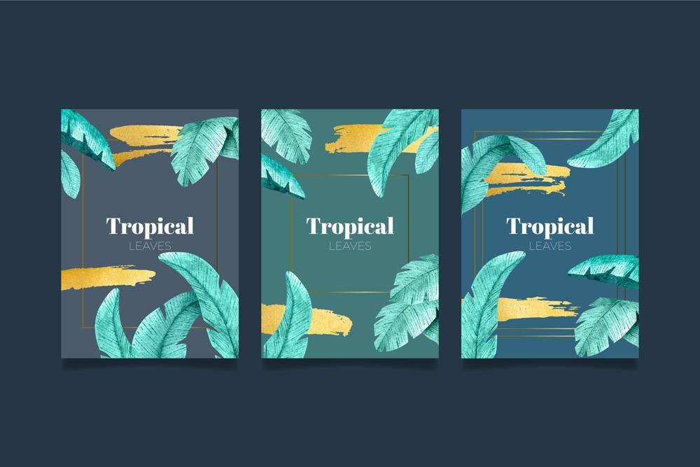 带有金色飞溅的热带卡片_8269296