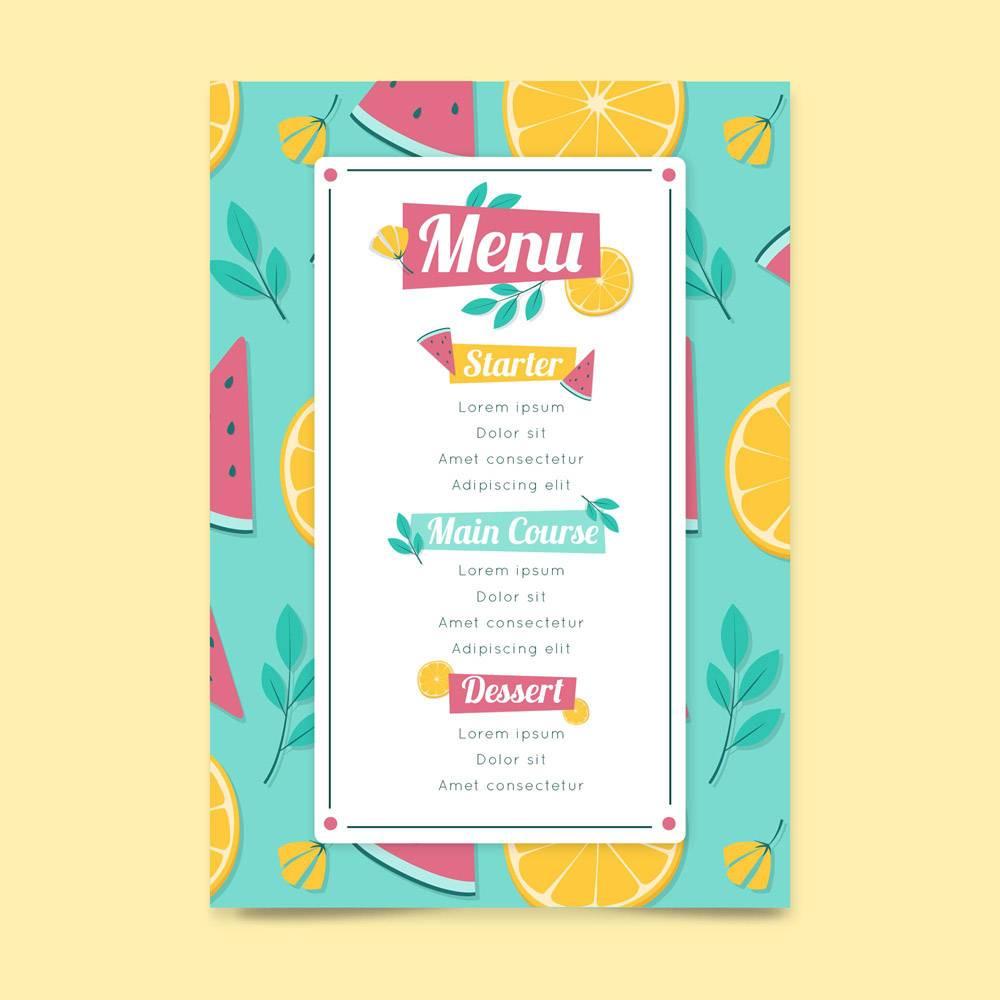 带水果的餐厅菜单模板_9664706