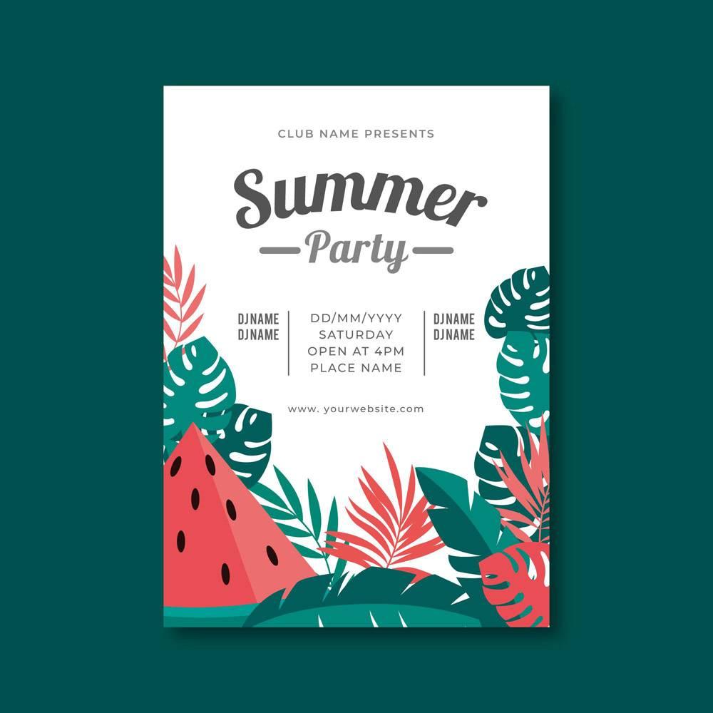 带热带插图的平面设计夏日派对海报_8135366