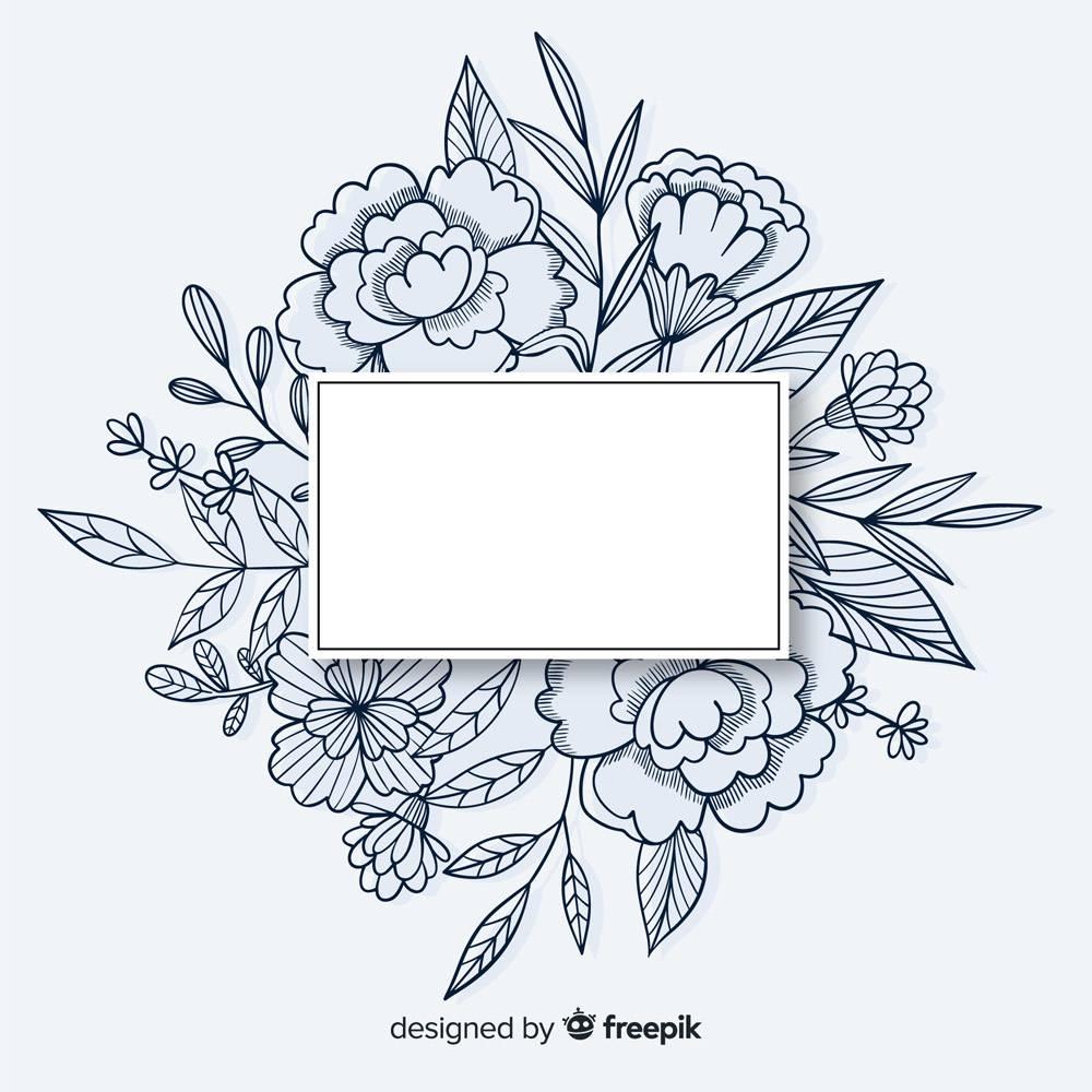带花卉图案和临摹空间的手绘相框_5445479