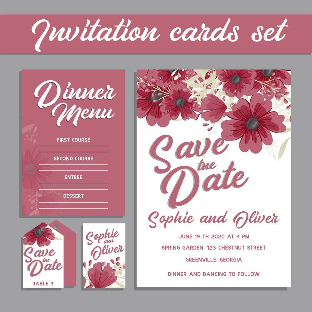 带鲜花模板的婚礼邀请卡套装_4286015