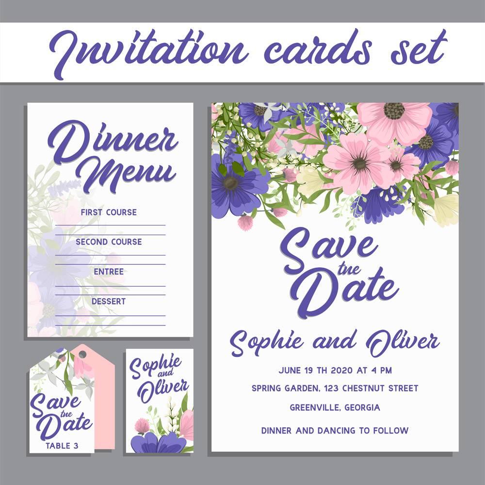 带鲜花的婚礼邀请卡套间_4316863
