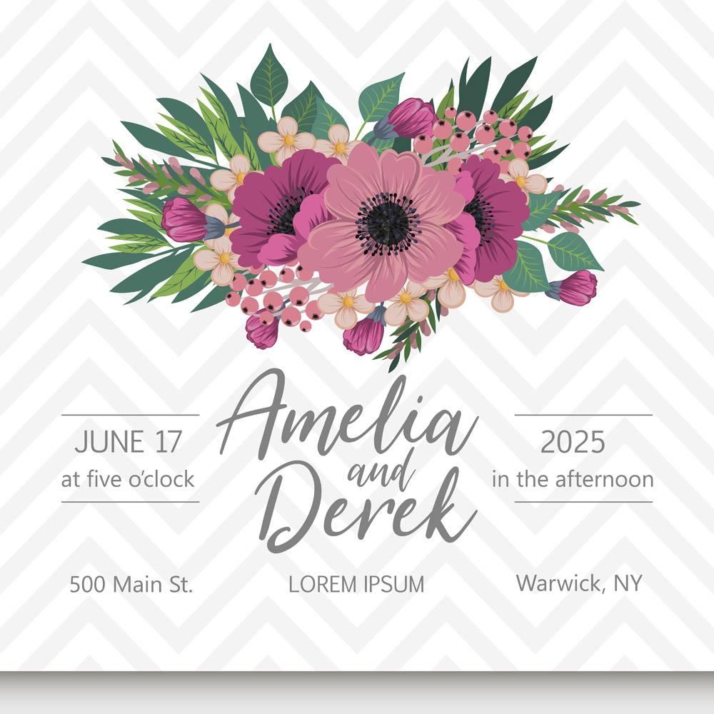 带鲜花的婚礼邀请卡套间_4422476
