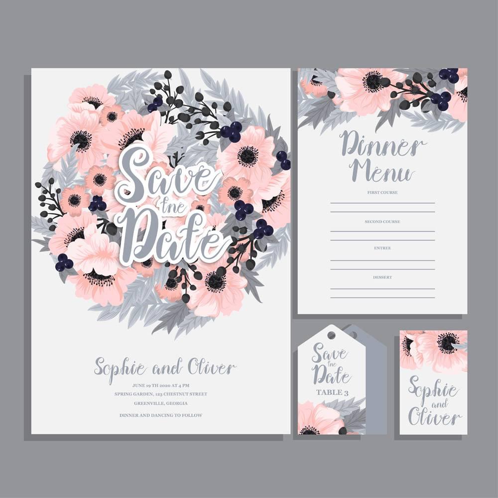 带鲜花的婚礼邀请卡套间模板矢量插图_4295156