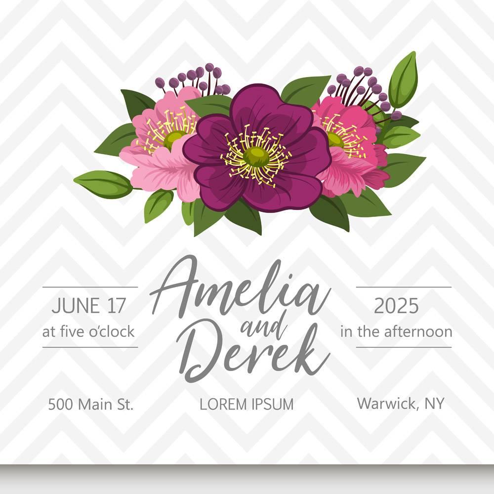 带鲜花的婚礼邀请卡套间模板矢量插图_4476809