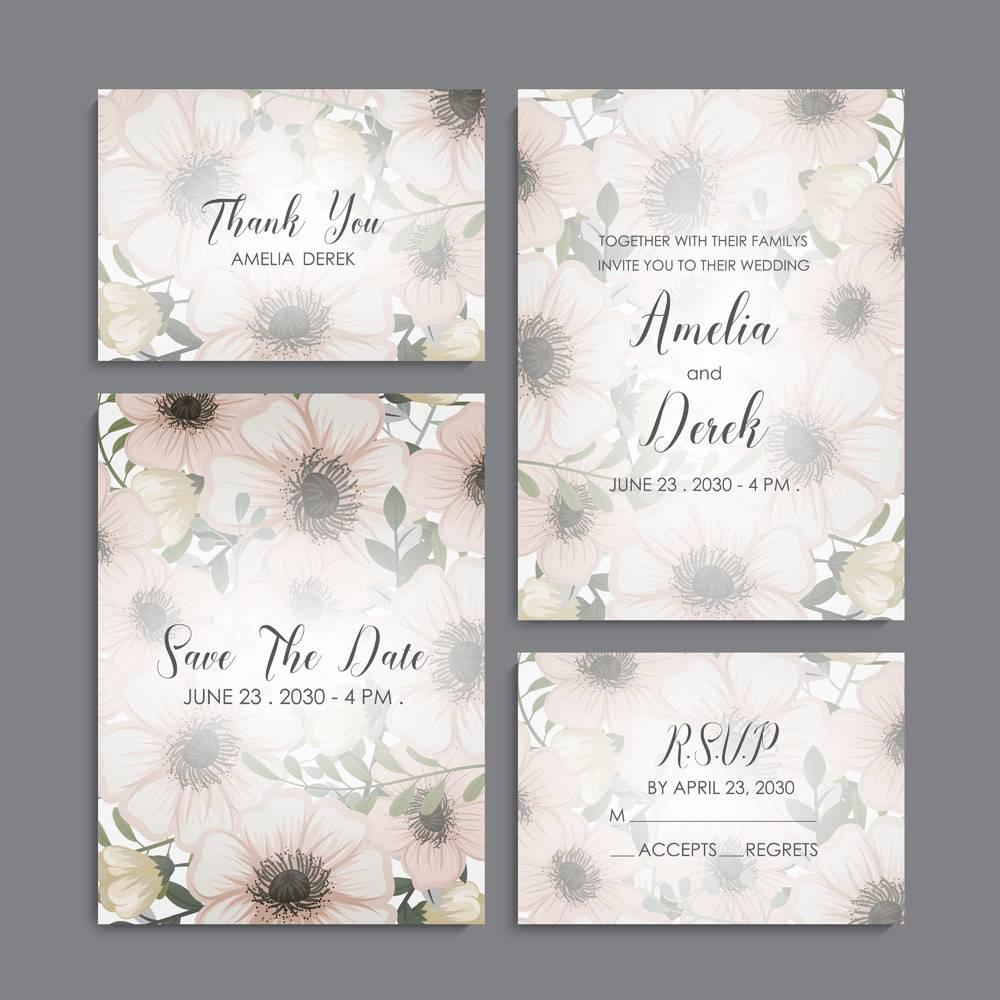 带鲜花的婚礼邀请卡套间模板矢量插图_4553207