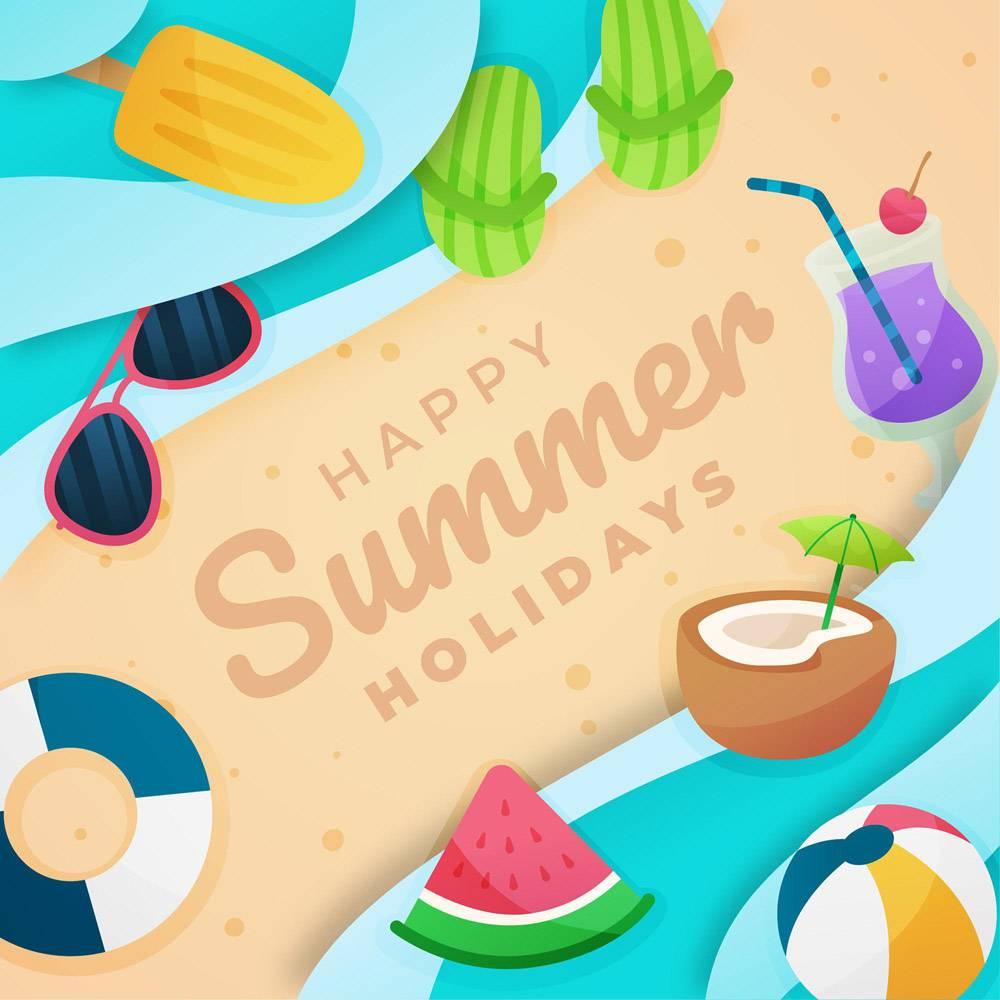 平坦的你好夏天有海滩_8050439