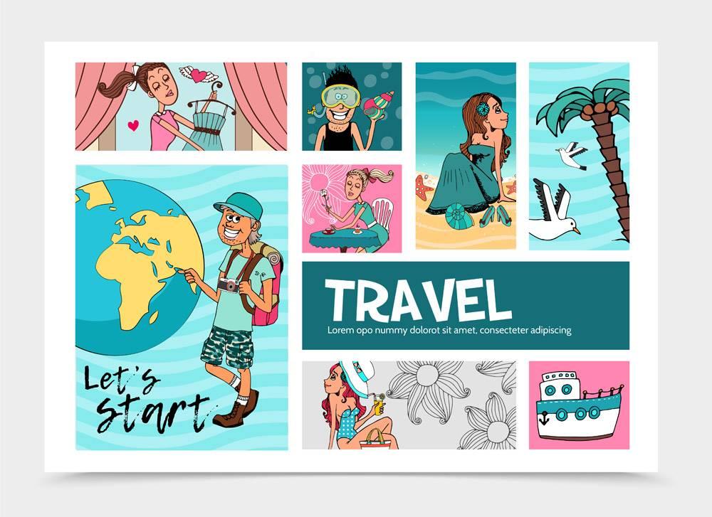 平坦的夏季旅行信息图模板欢快的游客近地_11061679