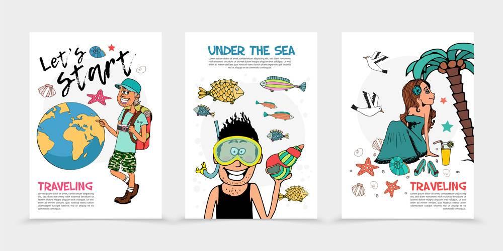 平坦的夏季旅行海报旅行者地球潜水员和鱼_11061520