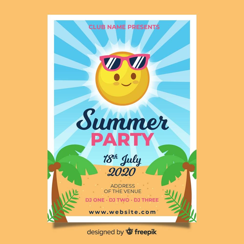 平坦的夏日派对海报模板_4362246