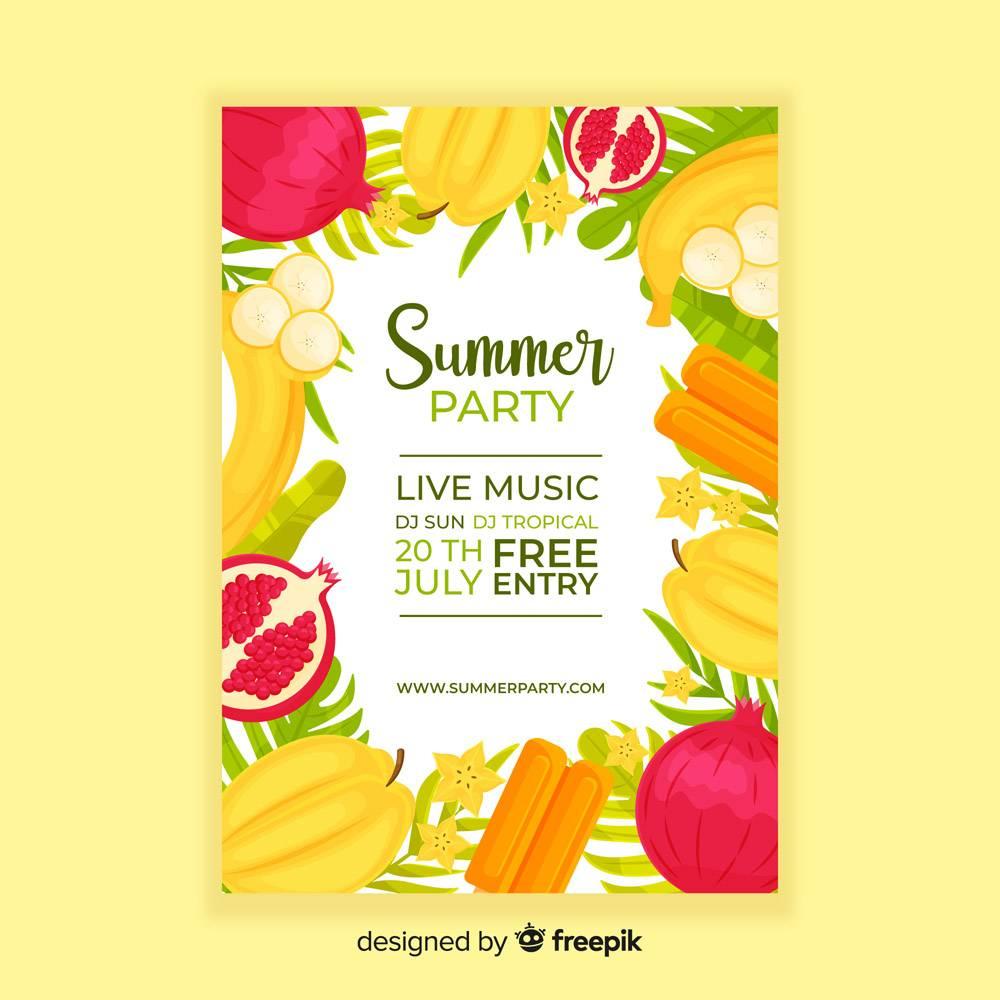 平坦的夏日派对海报模板_4493969