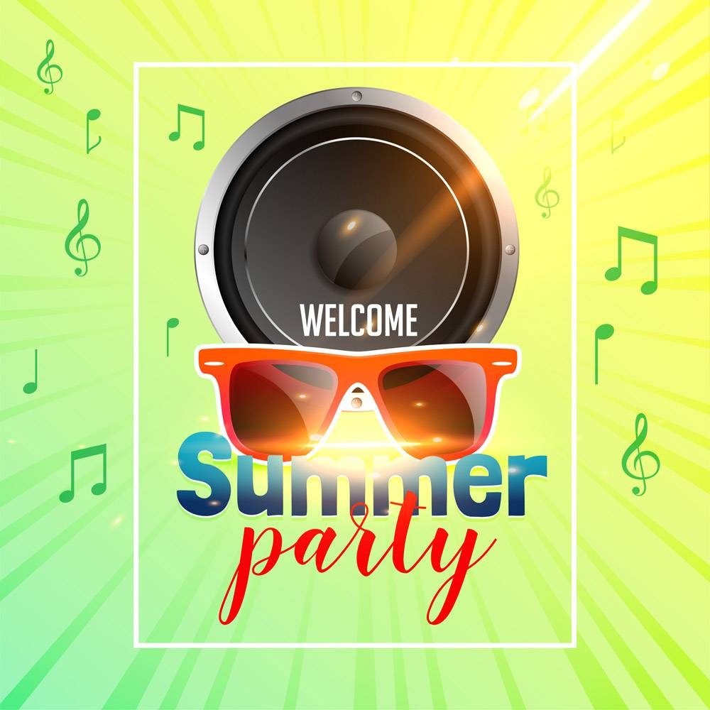 带扬声器的夏日派对传单_4664762