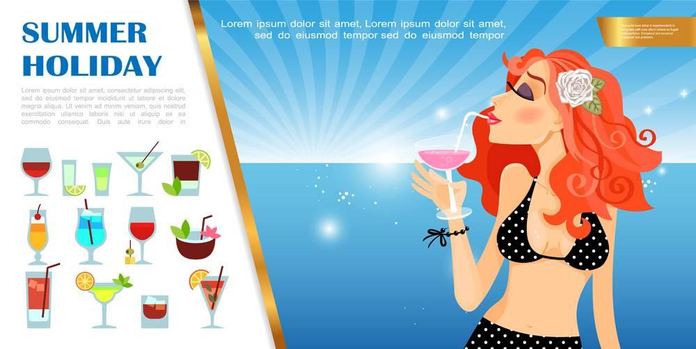 平坦的暑假模板美女在海边啜饮鸡尾酒酒_13235996