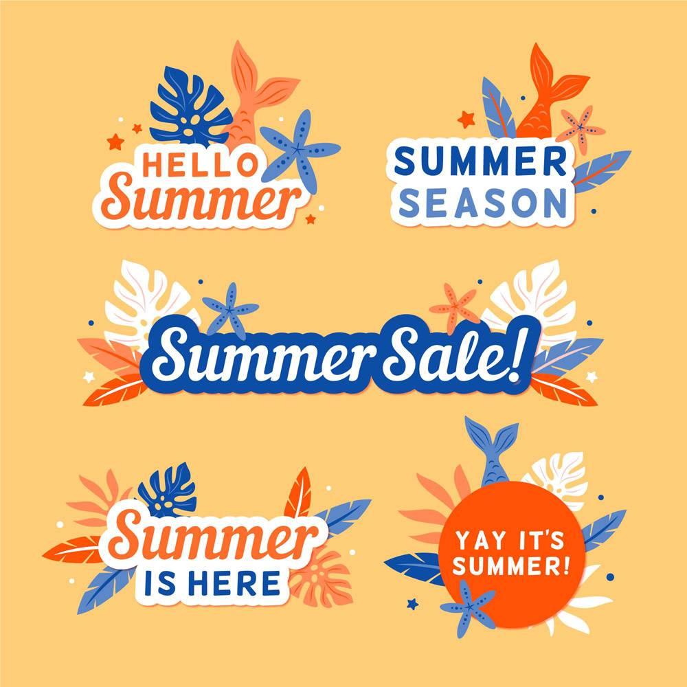 季节性扁平设计夏季徽章套装_8244912