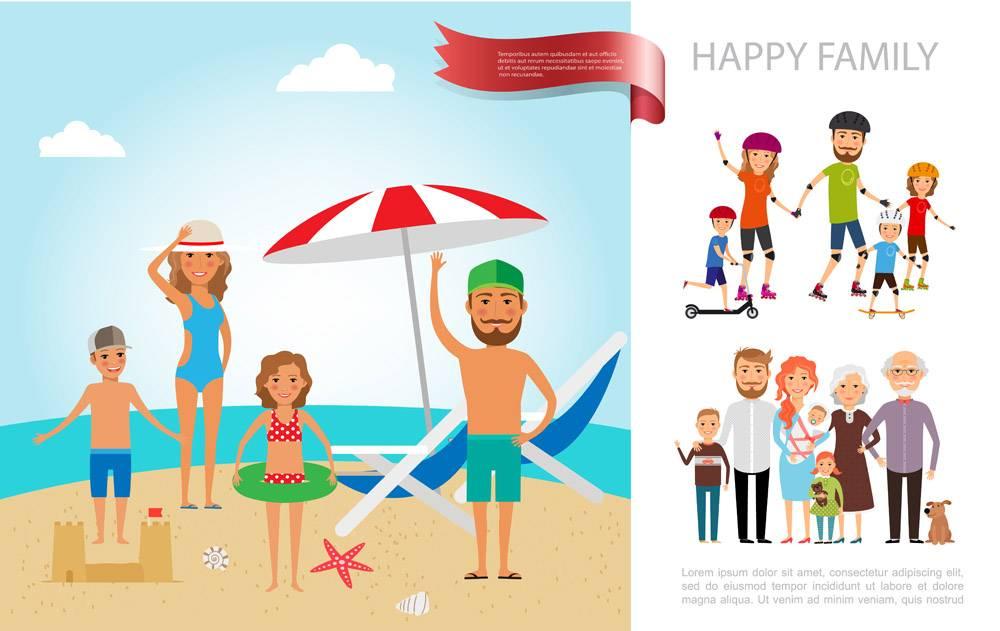 平家暑假概念和妈妈爸爸儿子女儿在海_13235988