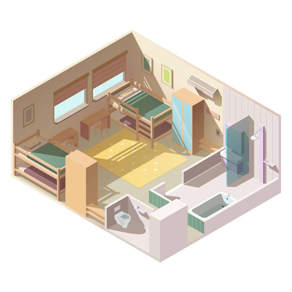学校营地的四床房等轴测矢量_5900577