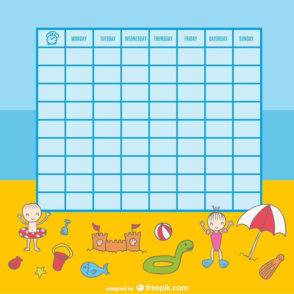 孩子们在海滩上玩耍的课程表插图_727339