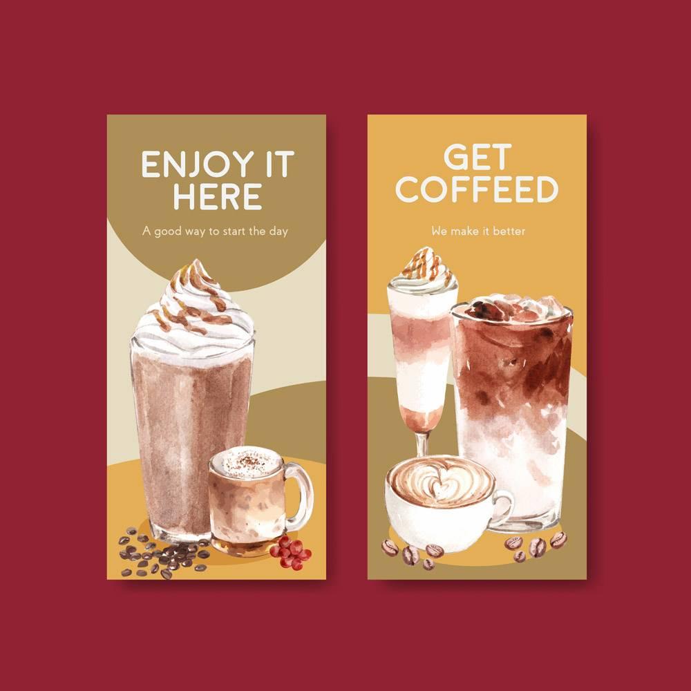 宣传单模板宣传单水彩韩式咖啡风格概念_11953383