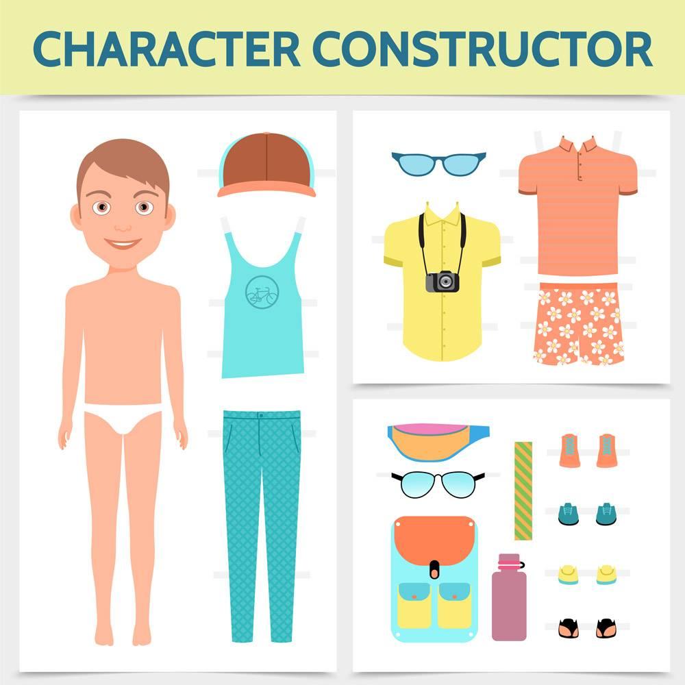平板男性角色构造者概念搭配夏装旅行袋_11061616