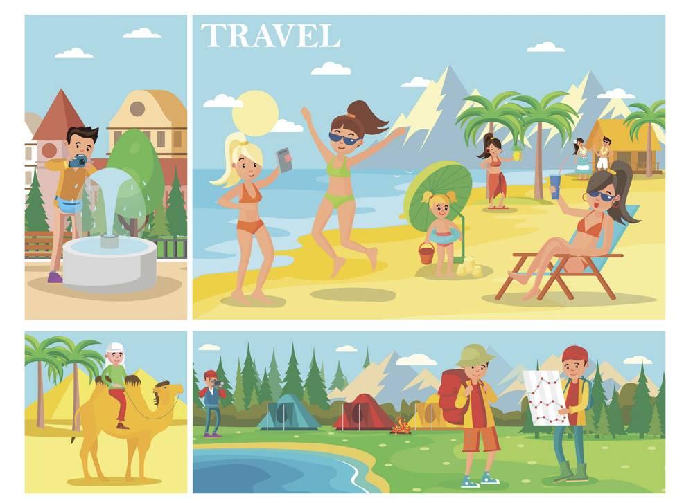 平淡的暑假作文人们在海滩上放松男人骑_9647873