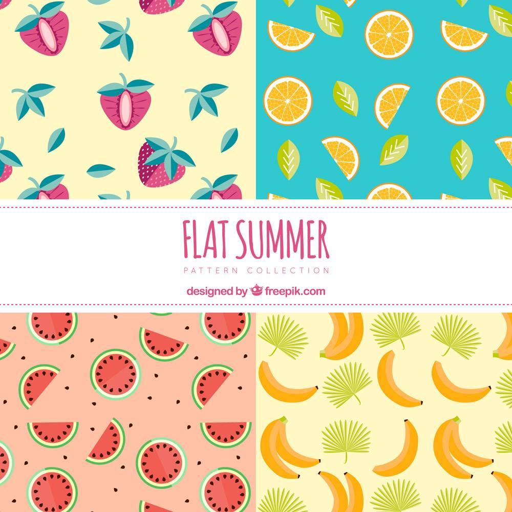 平面设计中的夏日水果图案_1128310
